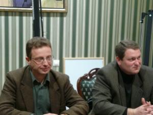 """Иван Сотиров и Димитър Георгиев - от ляво на дясно. Снимка - в. """"Дръстър"""""""